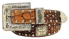 Ariat A1522202-L 1.5 in. Womens Croc Studded Cross Concho Belt, Brown - Small, 3 Piece