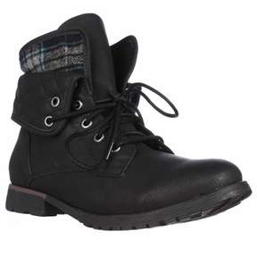 Rock & Candy Spraypaint Foldover Ankle Boots, Black Blue.