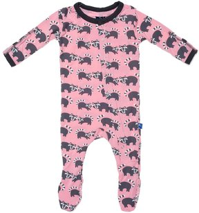 Kickee Pants Baby Girl's Print Footie - Lotus Raccoon