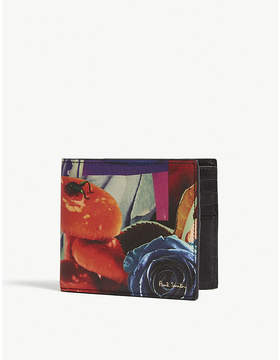 Paul Smith Grey, Blue and Red Floral Collage Rose Saffiano Leather Billfold Wallet