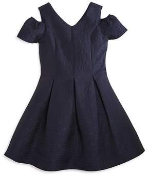 Us Angels Girls' Pleated Cold-Shoulder Jacquard Dress - Big Kid