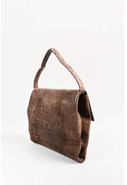 Loewe Pre-owned Brown Textured Leather Wooden Detail Fold Over Bag.