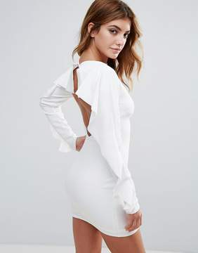 Club L Open Back Dress With Frill Sleeve