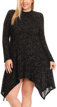 Canari Black Mock Neck Handkerchief Dress - Plus