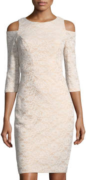 Eliza J Cold-Shoulder Lace Sheath Dress