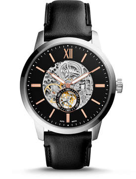Fossil Townsman 48mm Automatic Black Leather Watch