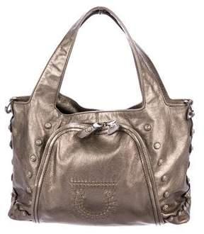 Salvatore Ferragamo Metallic Leather Handle Bag