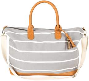 Cathy's Concepts Cathys Concepts Tasseled Initial Striped Canvas Oversized Weekender Tote