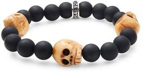 King Baby Studio Men's Black Onyx & Sterling Silver Skull Bracelet