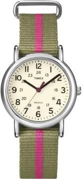 Timex Women's Weekender T2N917 Beige Nylon Quartz Fashion Watch
