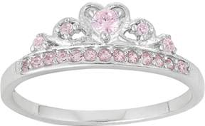 Junior Jewels Kids' Sterling Silver Cubic Zirconia Crown Ring