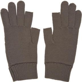 Rick Owens Grey Knit Gloves