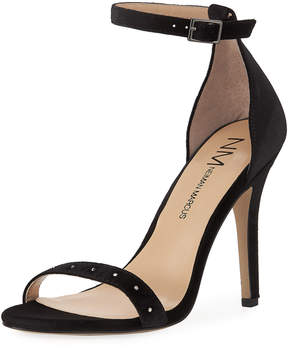 Neiman Marcus Baicho High-Heel Velvet Sandal, Black