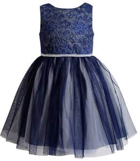 Youngland Girls 4-6x Crocheted Lace Glitter Mesh Dress