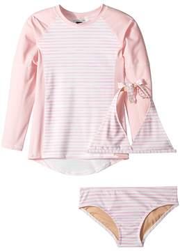Toobydoo Sweet Pink Stripe Bikini Rashguard Set Girl's Swimwear Sets