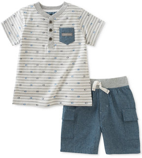 Calvin Klein 2-Pc. Henley Shirt & Cargo Shorts Set, Baby Boys (0-24 Months)