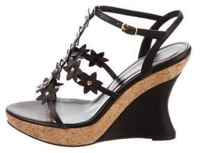 Oscar de la Renta Jumma Leather Wedge Sandals w/ Tags