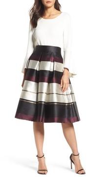 Eliza J Women's Stripe Faille Midi Skirt