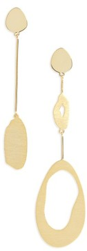 Argentovivo Women's Modern Organic Asymmetrical Drop Earrings