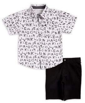 Calvin Klein Jeans Little Boy's Logo Button-Down Shirt & Shorts Set
