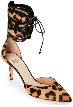 Francesco Russo Leopard Print Pointed Toe Calf Hair Lace-Up Pumps