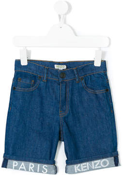 Kenzo logo print denim shorts