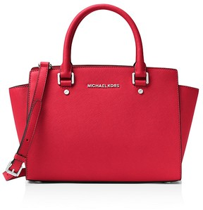 MICHAEL Michael Kors Selma Top Zip Medium Saffiano Leather Satchel - BRIGHT RED/SILVER - STYLE