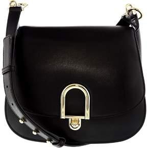 Michael Kors Women's Large Delfina Rolex Leather Saddle Bag Shoulder Satchel - Black - BLACK - STYLE