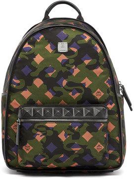 MCM Dieter Munich Lion Camo Canvas Backpack, Green
