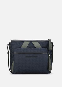Emporio Armani houndstooth nylon and double pvc reporter bag
