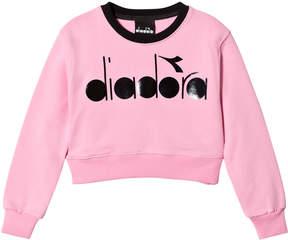 Diadora Pink Branded Crop Sweater