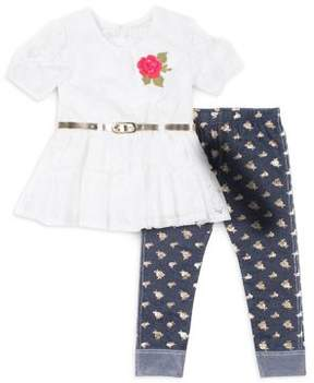 Little Lass Little Girl's Floral Lace Top and Graphic Leggings Set