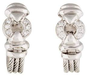 Charriol 18K Diamond Cable Huggie Earrings