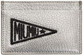 Miu Miu Silver Glitter Patch Card Holder