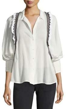 BA&SH Jermaine Embroidered-Trim Shirt, White/Black Multicolor