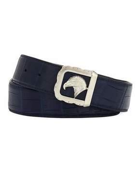 Stefano Ricci Eagle-Buckle Crocodile Belt, Blue