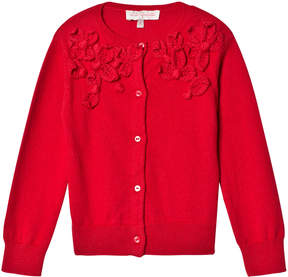 Lili Gaufrette Red Knit Cardigan with Petal Appliques