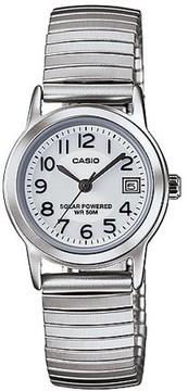 Casio Women's Solar-Powered Easy Reader Watch, Silver Bracelet