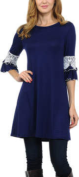 Celeste Navy Lace-Sleeve Tunic - Women