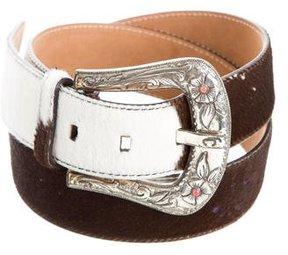 Roberto Cavalli Ponyhair Buckle Belt