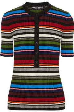 Dolce & Gabbana Striped Ribbed Cotton-blend Sweater - Red