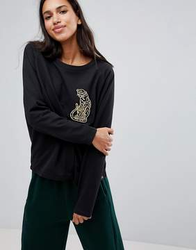 Blend She Shane Sweat with Leopard Embroidery