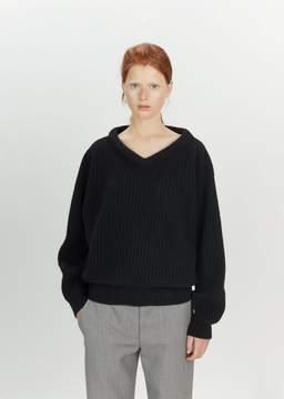 Lemaire Shetland Wool Large V-Neck Sweater Black