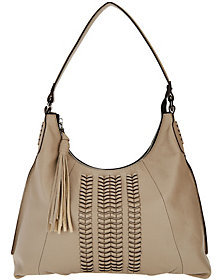 As Is orYANY Pebble Leather Hobo Bag with Braided Detail - Alli