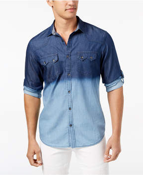 INC International Concepts I.n.c. Men's Dip-Dyed Denim Shirt, Created for Macy's