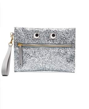 Anya Hindmarch Silver glitter Eyes embellished pouch