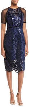 Elie Tahari Katia Embellished Sheer Sheath Dress