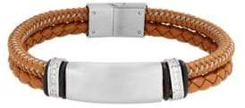 Lord & Taylor Stainless Steel, Leather Cord Braided Bracelet