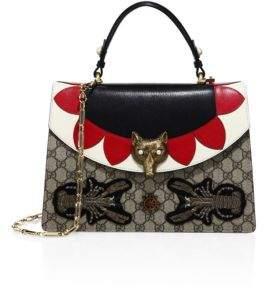 Gucci Medium Embellished GG Supreme & Leather Top Handle Bag - BEIGE-ROSE - STYLE