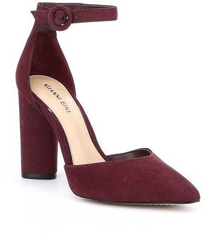 Gianni Bini Flara Nubuck Leather Ankle Strap Pumps
